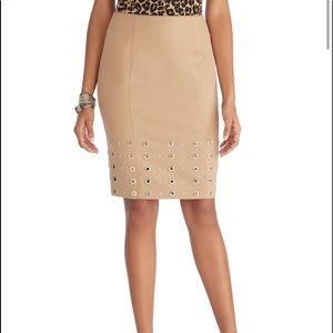 WHBM ponte gold grommet skirt